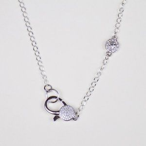 silver chain with pave cz lobster clasp charm